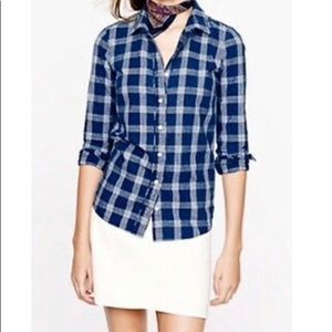 J. Crew Blue Indigo Plaid Button Up Boy Shirt